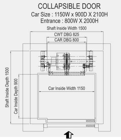 Home Elevator - Collapsible Door Structure